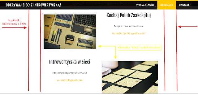 Weebly - elementy strony