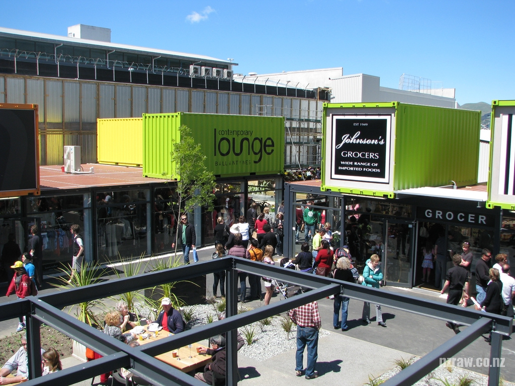 shipping container homes: cashel mall containers christchurch nz