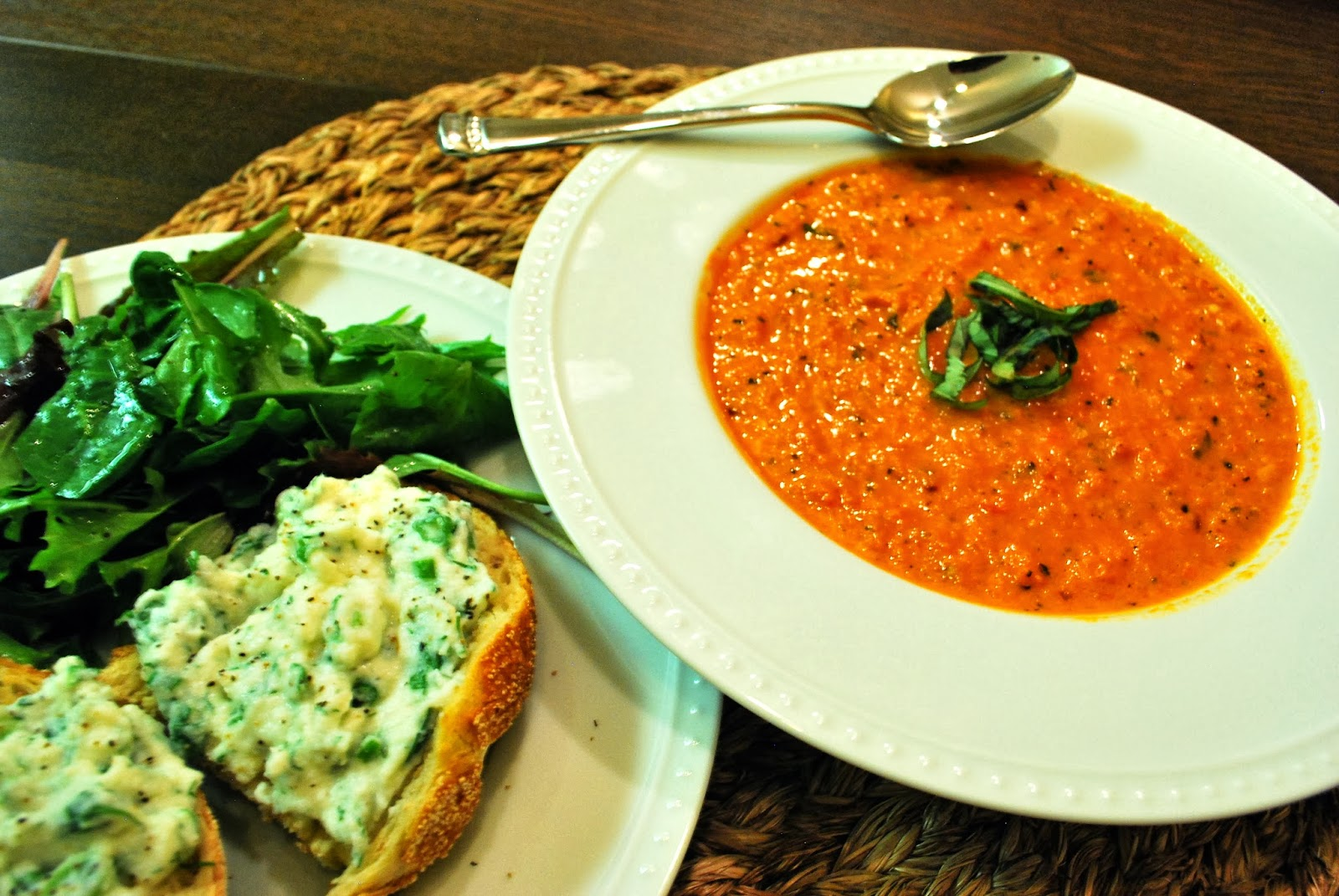 Fire Roasted Tomato Basil Soup and Herbed Ricotta Bruschetta | Bevy ...