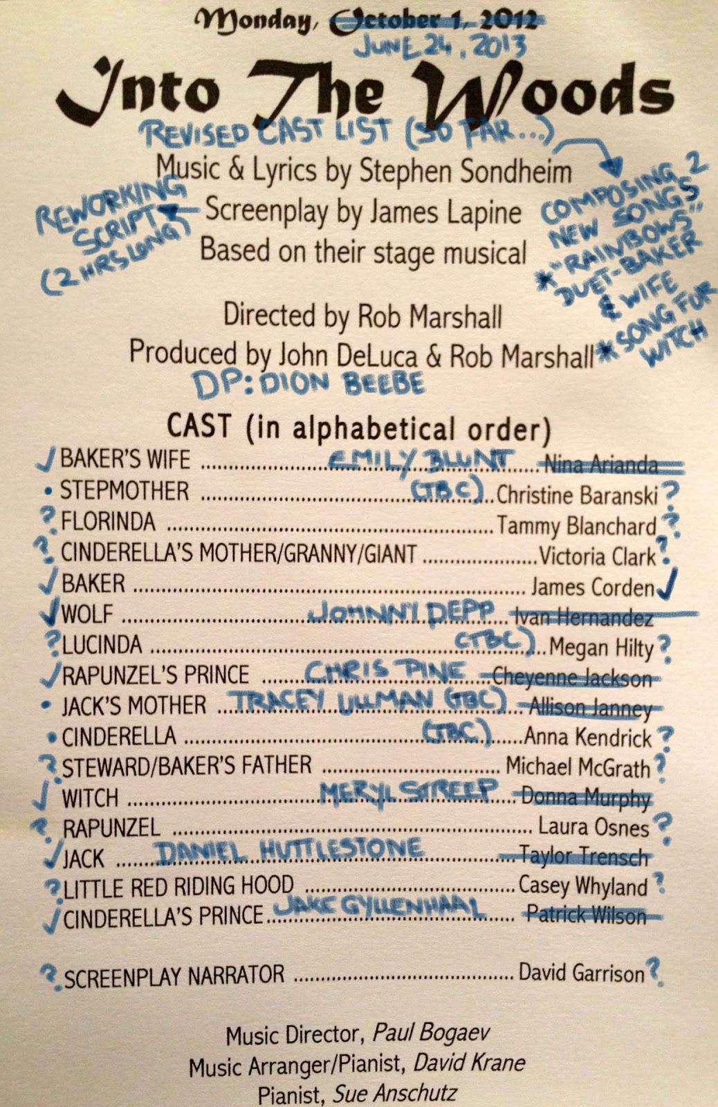 Once upon a blog into the woods movie revised cast list so revised cast list as of june 24 2013 incl tbc fandeluxe Gallery
