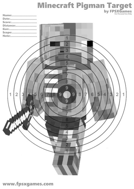 Printable Minecraft Pigman target