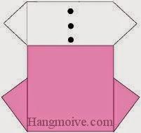 Bước 11: Vẽ cúc để hoàn thành cách xếp váy đầm công sở bằng giấy theo phong cách origami.