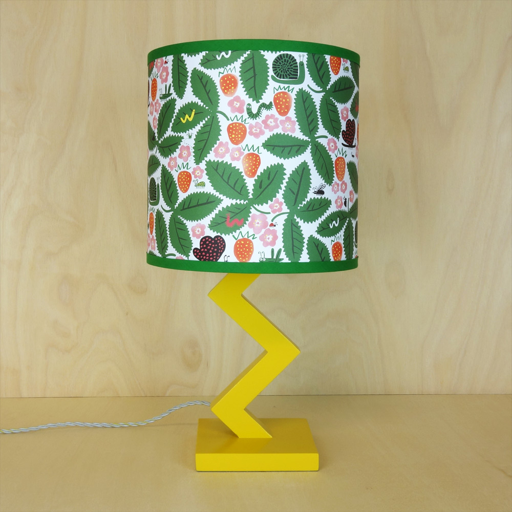 25cm drum lampshade with strawberry pattern from Lisa Jones Studio