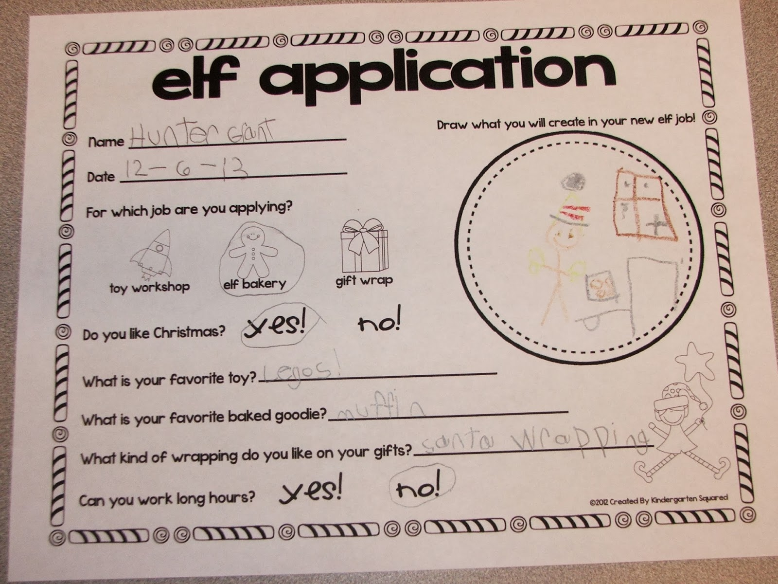 """just love this """"elf application"""" that Hunter filled out! He chose to ..."""