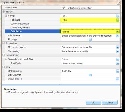 Set the default pdf eml export setings using the profile editor.
