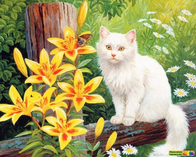белая кошка в цветах