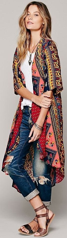 Gorgeous short sleeve duster and distressed denim❤#Sabelline