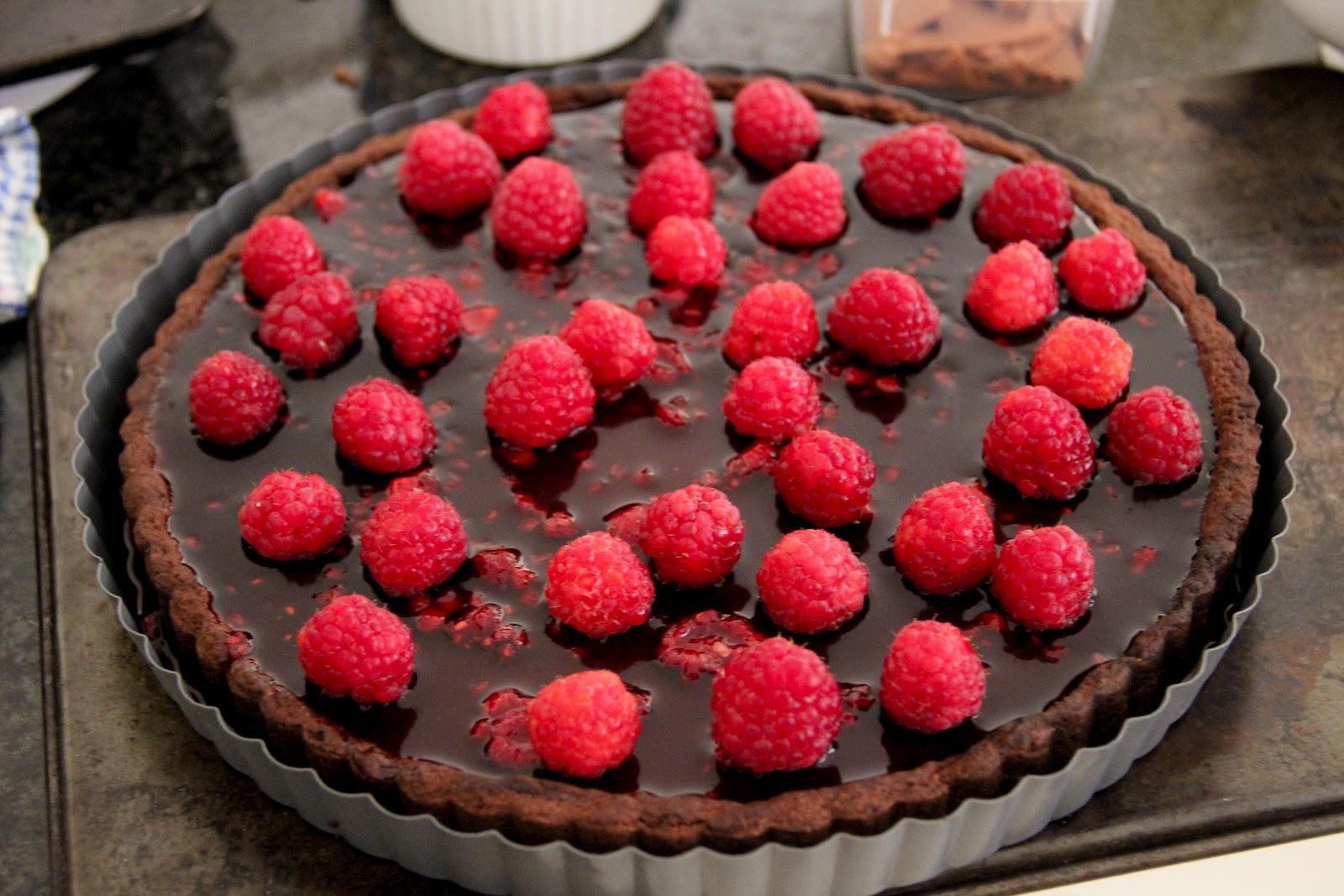 Dark Chocolate Raspberry Tart With Cherry Port Jelly Recipe