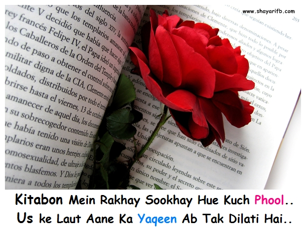 Kitabon Mein Rakhay Sookhay Hue Kuch Phool.. Us ke Laut Aane Ka Yaqeen Ab Tak Dilati Hai..