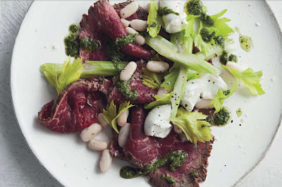 Beef carpaccio with cannellini beans and celery