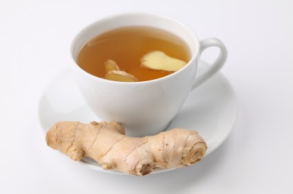 Ginger root in tea