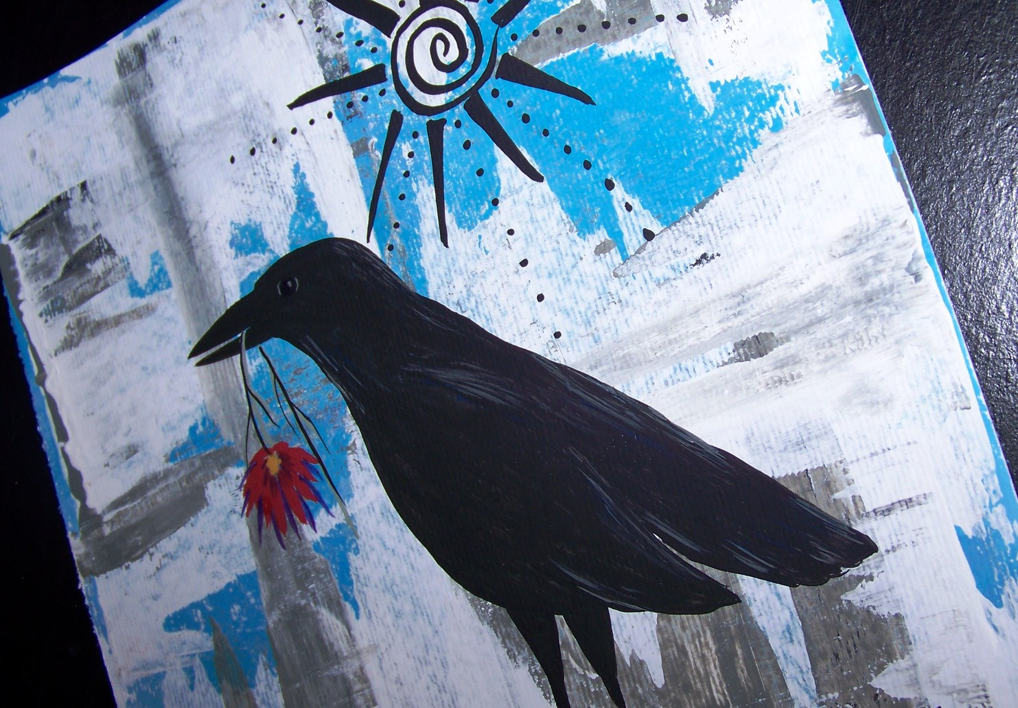 Conscious art studios manifestation crow and flower symbolism contemporary folk art painting of crow by jeanne fry biocorpaavc