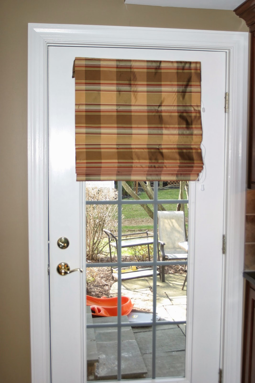 French door roman curtains - Flat Roman Shade With Banding At Bottom Edge And Short Banded Valance