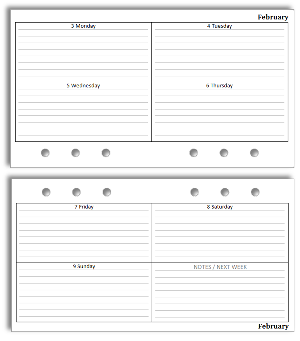 Philofaxy Free Filofax diary inserts to print on Letter paper – Diary Paper Printable