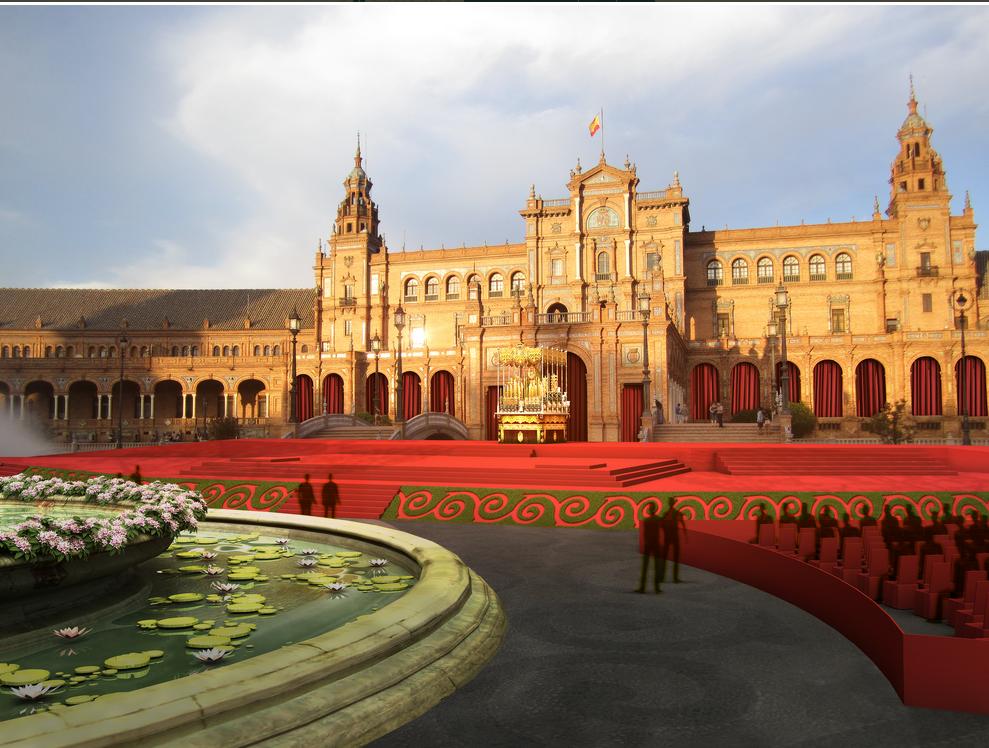 50 ANIVERSARIO CORONACIÓN MACARENA SEVILLA 2014: ALTAR EN LA PLAZA DE ESPAÑA