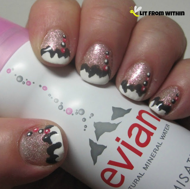 Evian Facial Spray-inspired nailart