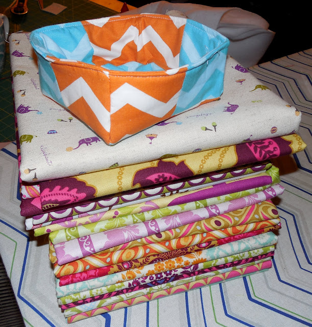 patchwork fabric basket on fabric mountain