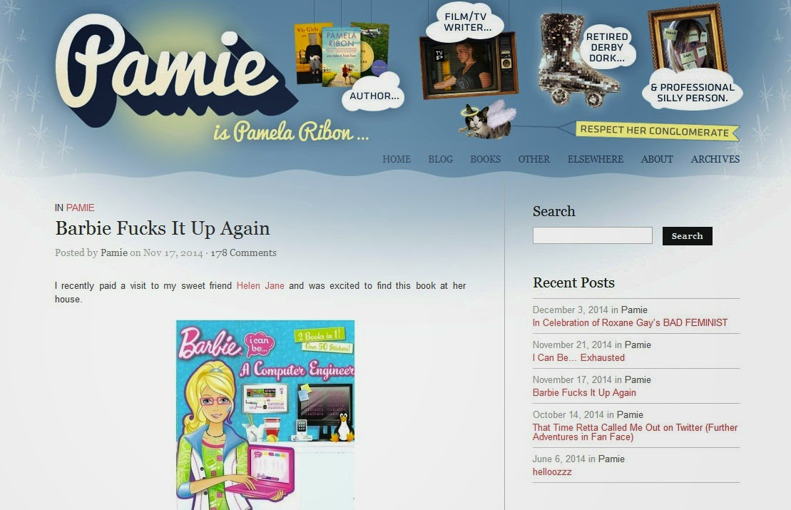 Pamala Ribon's blog critiques computer engineer Barbie book