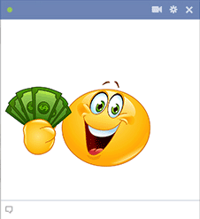 Facebook smiley with money