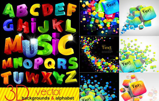 Colorful 3D backgrounds and alphabet