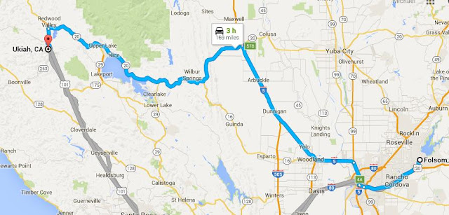 Map of Folsom to Ukiah