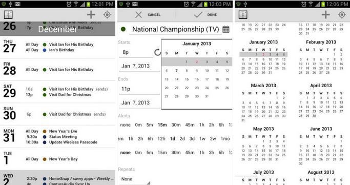agenda calendar for android
