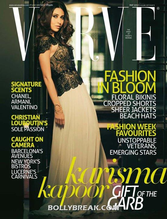 Karishma Kapoor  Verve Cover - Karishma Kapoor on cover of Verve Magazine May 2012 Edition