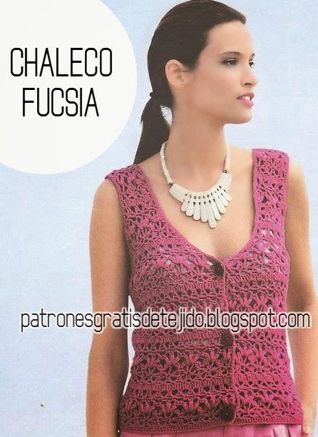 Chaleco crochet fucsia