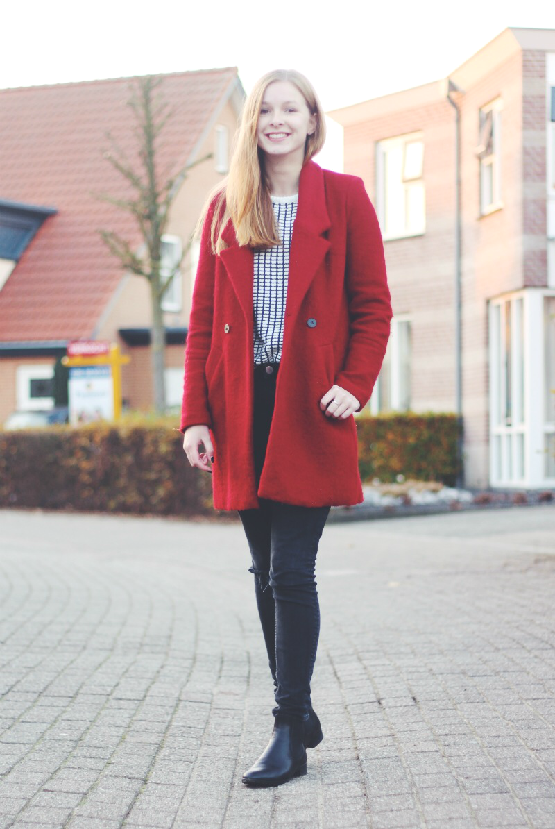 outfit red zara coat ripped jeans asos chelsea boots winter