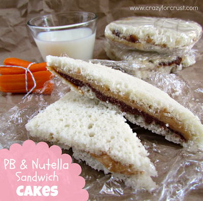 Peanut butter and nutella sandwich cakes with title
