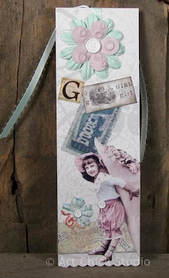 G is for Girl Altered Art Bookmark