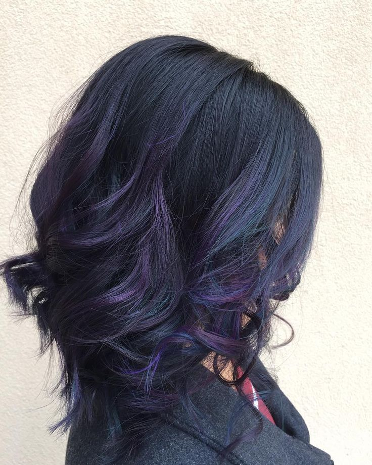 Who said that Brunettes can't have colorful hair? Oil slick technique ...