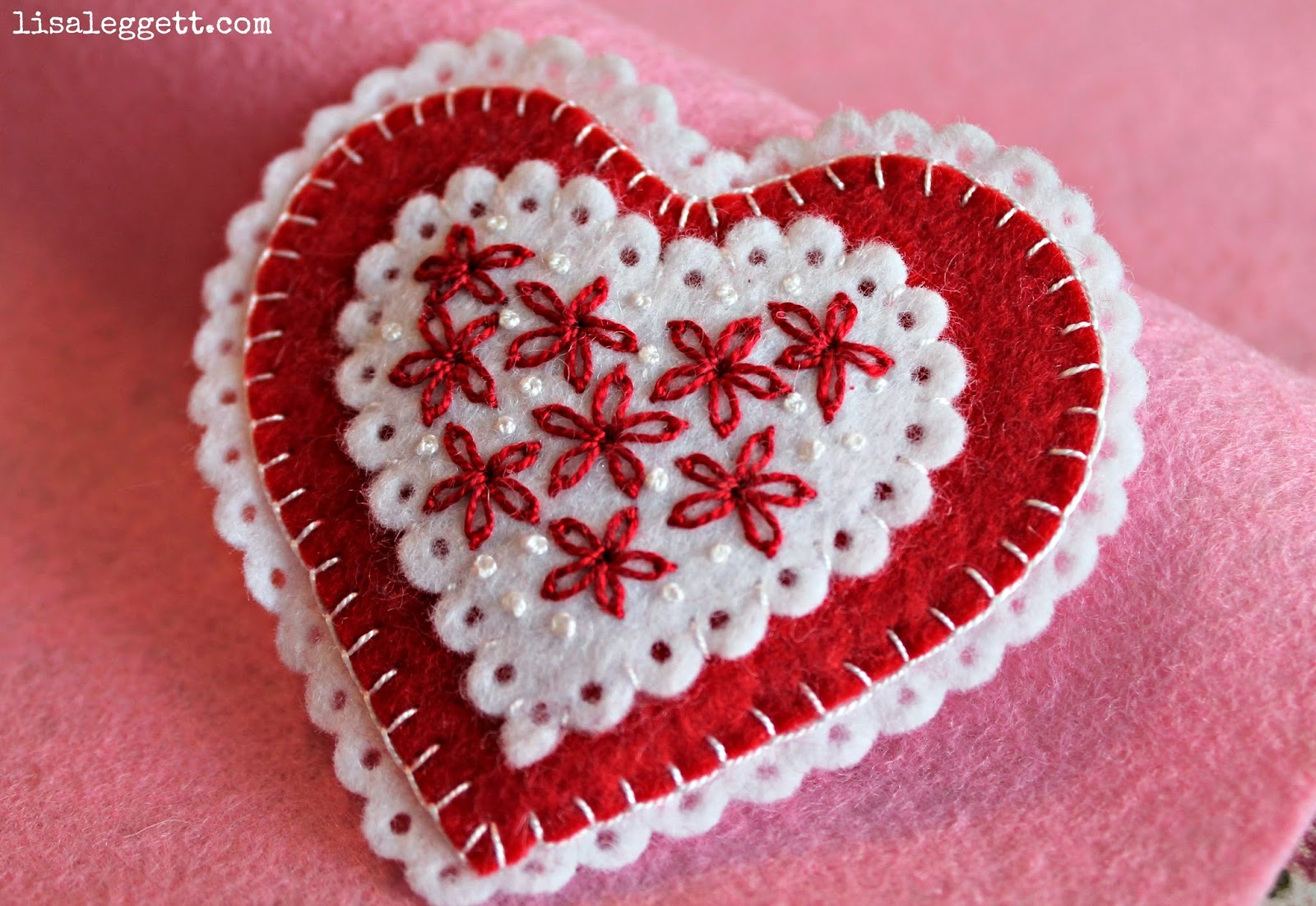 Embroidered Felt Heart Pin by Lisa Leggett