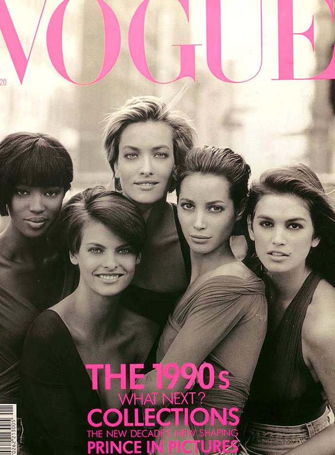 Naomi Campbell, Linda Evangelista, Tatjana Patitz, Christy Turlington & Cindy Crawford in Vogue UK January 1990 (photography: Peter Lindbergh)