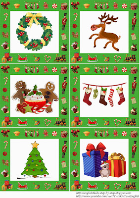 English language christmas stuff flashcards