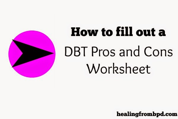 how to fill out a dbt pros and cons worksheet