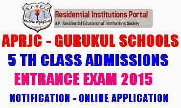 APRJC Gurukul Schools 5th Class Entrance Exam 2015