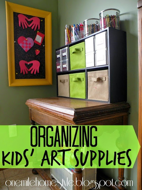 Corral the mess of kids' art supplies and keep it all organized | One Mile Home Style