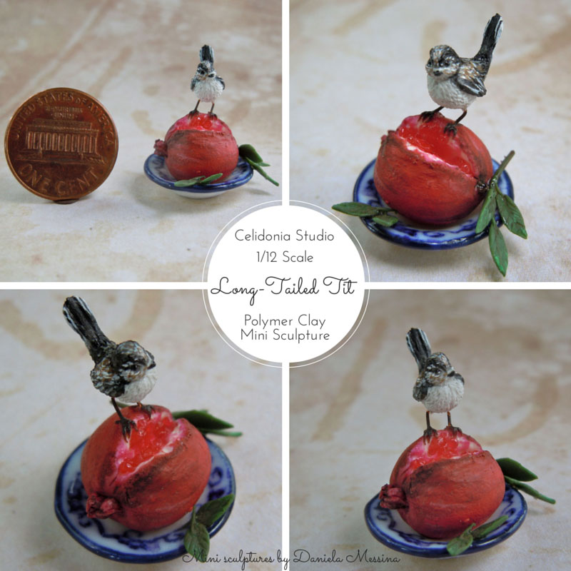 long-tailed tit miniature in 1/12 scale sculpted from polymer clay