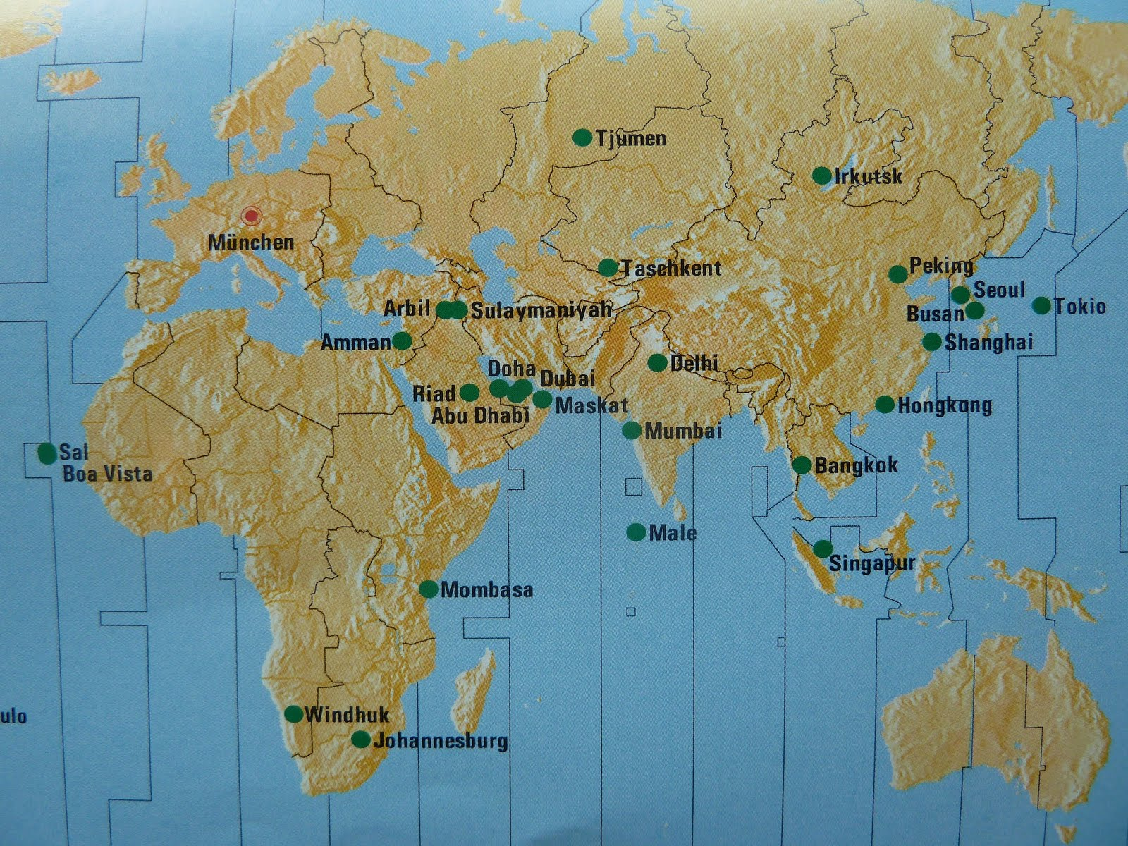 The Timetablist Intercontinental Destinations from Munich Summer