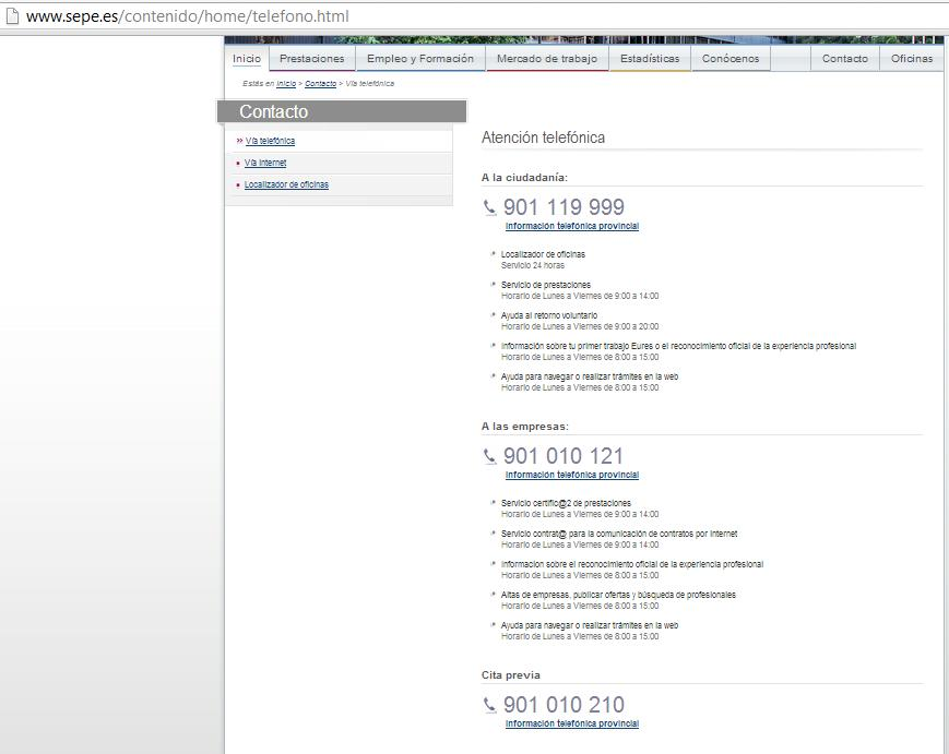 Informaci n sobre prestaciones administraci n p blica sepe for Oficina electronica sepe