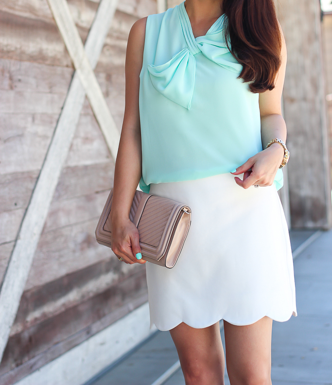 BP luminate  sandals Chicwish CHEERS BOW SLEEVELESS TOP IN MINT Rebecca Minkoff chevron quilted love clutch Tophop Scallop Hem Skirt