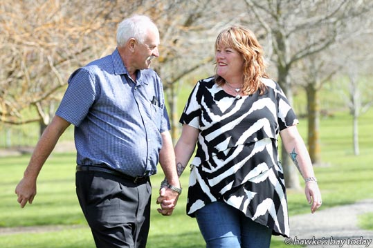 Shelley Mepham, Taradale, Napier, met her father Eddie Dodd, Geraldton, West Australia, for the first time this week, pictured in Dolbel Reserve, Taradale, Napier. photograph