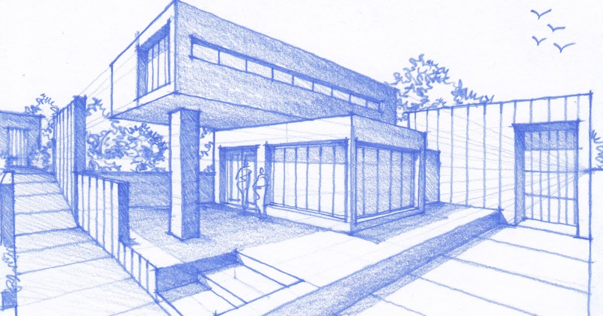 How to draw a house san francisco chronicle for Architecture modern house design 2 point perspective view