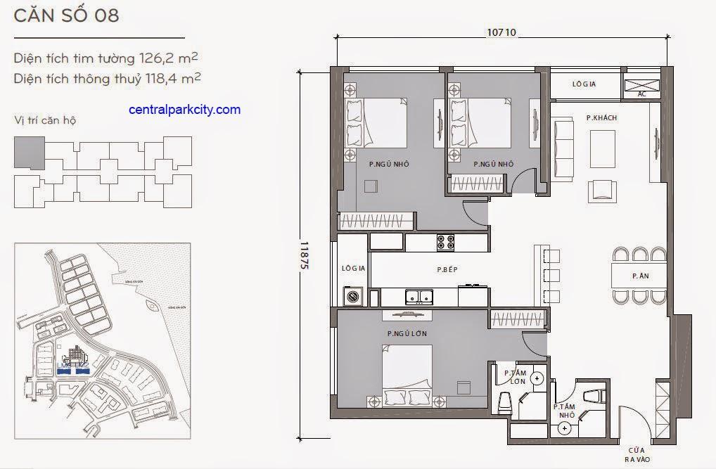 Căn hộ Landmark 2 & 3 - kiểu nhà số 08 - 126.2m2 - 3PN
