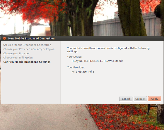 Setting up and configuring MTS MBLAZE mobile broadband USB Modem in ubuntu Linux