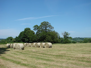 Hay bails in the golden countryside of mid-summer, Cotswolds, England