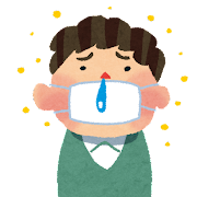 花粉症のイラスト「マスクと鼻水の男性」