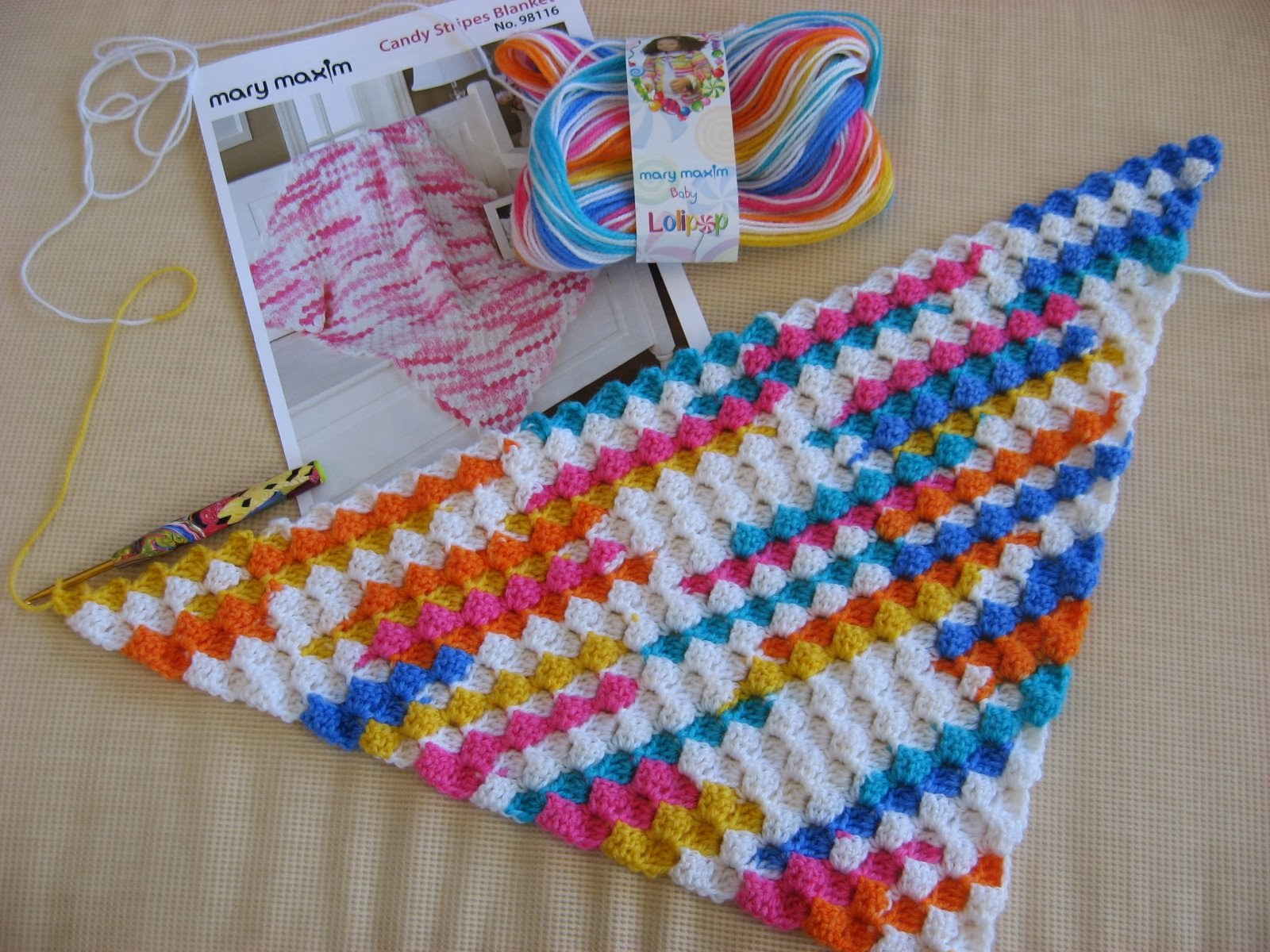 Hooked on Needles: Crocheted Candy Stripes Blanket ~ Finally Started!