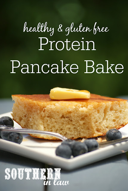 Healthy Protein Pancake Bake Recipe - healthy, low fat, gluten free, high protein, sugar free, clean eating friendly